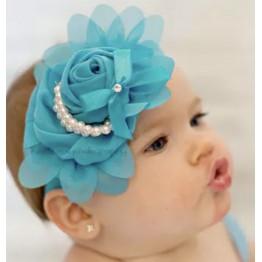 """Κορδέλα μαλλιών """"blue  & pearls"""""""