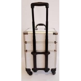 Βαλίτσα μακιγιάζ αισθητικής TC3362R τροχήλατη Λευκή με στρας